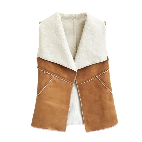Forme a mujeres del chaleco de gamuza sintética del chaleco sin mangas de la solapa con muescas de la capa sólida de color Tops Cardigan Especial