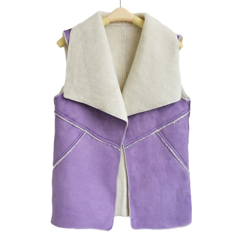 Fashion Women Waistcoat Faux Suede Vest Notched Lapel Sleeveless Solid Color Special Cardigan Coat Tops
