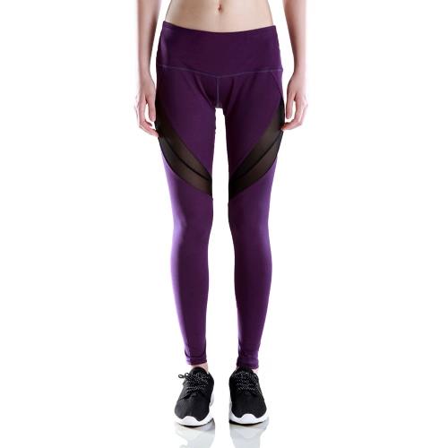 Pantalones de las polainas de las nuevas mujeres de deportes de malla transparente que empalma la alta cintura elástica pantalones de la yoga de jogging gimnasio Gym Pantalones Medias Negro / púrpura / rojo