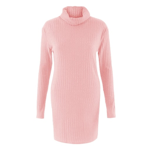 New Sexy Women Knit Dress Solid Turtleneck Long Sleeve Casual Party Mini Sweater Dress