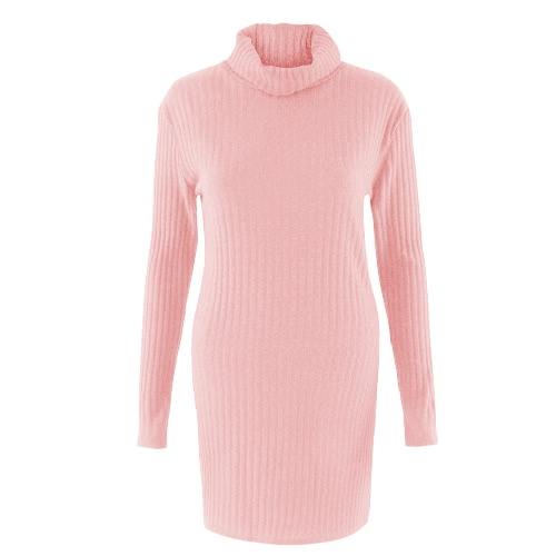 Nowy Sexy kobiet dzianiny Sukienka z litego golf z długim rękawem Casual Party Sweter Sukienka Mini