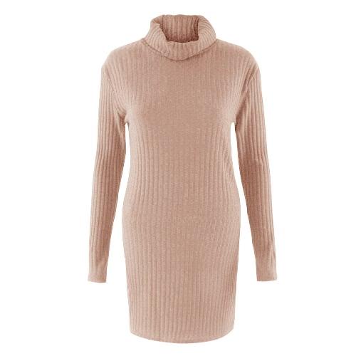 Mini vestido de suéter nuevo atractivo de las mujeres vestido de punto sólido del cuello alto de manga larga fiesta informal