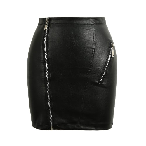 New Moda feminina PU saia de couro com zíper Bodycon saia Mid Ascensão cintura Sólidos Noite Color Club Clubwear Preto