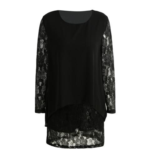 New Mulheres Mini Plus Size vestido de chiffon Lace mangas longas Irregular elegante da festa solta Layered vestido preto / Borgonha