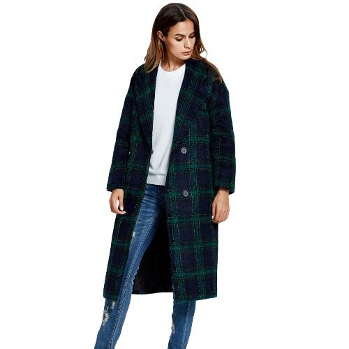 New Winter Women Woolen Coat Plaid Button Notched Collar Long Sleeves Warm Long Outerwear Overcoat Green