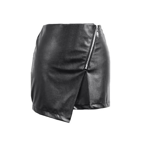 Las mujeres nuevos atractivos de la PU de la falda de la cremallera delantera de Split color sólido delgado ajustado de la mini falda Clubwear Negro