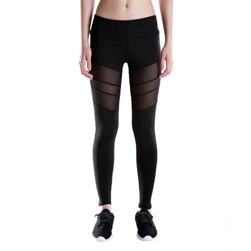 Nowej kobiet sportowe Joga Legginsy stałe Mesh Splice Wysoka Talia Fitness Gym Running Stretch Rajstopy długie spodnie Spodnie Czarne