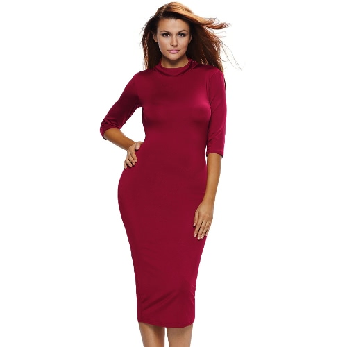 New Sexy Women Bodycon Dress Mock Neck O-Ring Accent Cut Out Back Half Sleeve Midi Dress Black/Burgundy/White