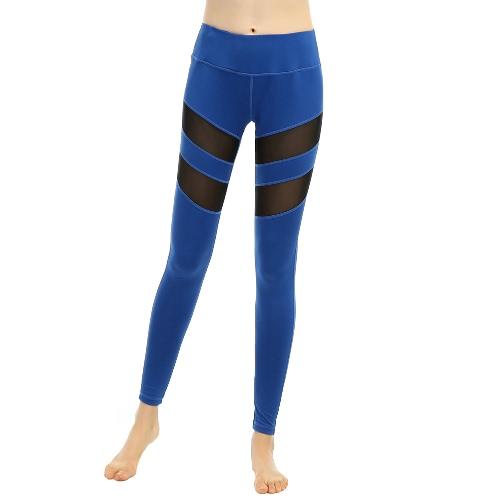Neue Frauen-Sport-Yoga-Gamaschen feste Netz Splice mit hoher Taille Fitness Gym Lauf Stretch Tights Lange Hosen Hose Schwarz