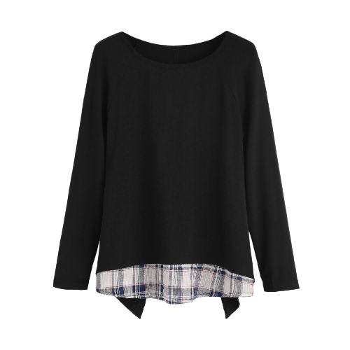 La nueva manera imitación de las mujeres de dos piezas de la camiseta de la tela escocesa V recorte que empalma del cuello redondo de manga larga blusa de la tapa Negro
