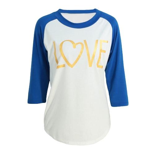 Moda Damska koszulka szyi Round 3/4 rękaw Splice Kolor Sexy slim Casual T-shirt Topy Różowy / Niebieski