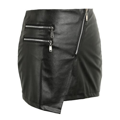 New couro sexy Mulheres PU saia dianteira Zipper Dividir cor sólida Bodycon curto Mini Saia Saia preta apertada