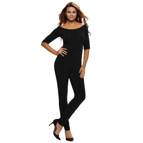 Nova Moda Mulheres Jumpsuit Sólidos de Slash Neck luva dos três quartos de Slim Night Club sexy macacão preto