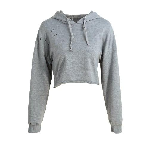 Mulheres Moda de Nova camisolas do Hoodie cor sólida manga comprida Pullover com capuz solto Tops Cinza