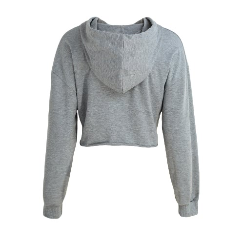 New Fashion Women Hoodie Sweatshirts Solid Color Long Sleeve Pullover Hooded Loose Tops Grey