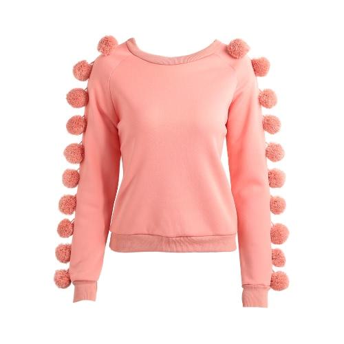 Kobiety Pom Poms rękawy kapturem Sweatershirt Runo O Neck Długi Dwukolorowa Warm Jumper Sweter Sweterek Znosić Różowy