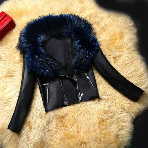 New Women Leather Jacket Faux Fur Collar PU Double Zipper Biker Jacket Slim Motorcycle Coat Outerwear