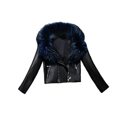 New Jacket Mulheres Couro Faux Fur Collar PU duplo Zipper Jaqueta de Motociclista Magro motocicleta Casacos Brasão