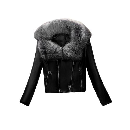 Nueva chaqueta de cuero de las mujeres de piel sintética de la PU del collar doble de la cremallera del motorista de la motocicleta chaqueta delgada capa de abrigo