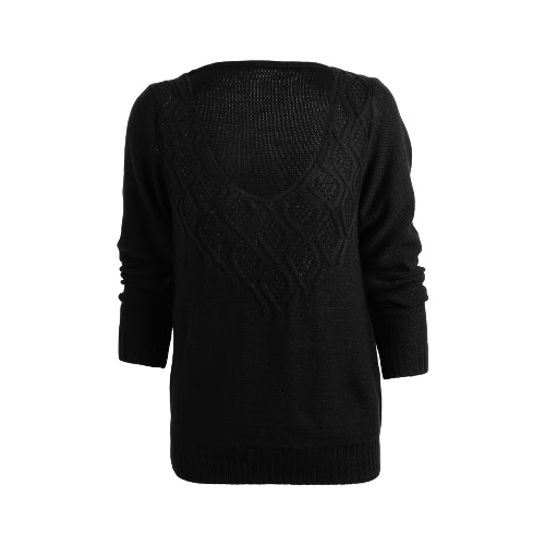 New Women V Neck Knitted Sweater Low Cut Twist Cutout Loose Pullover Knitwear Jumper Top Black/Purple/Pink