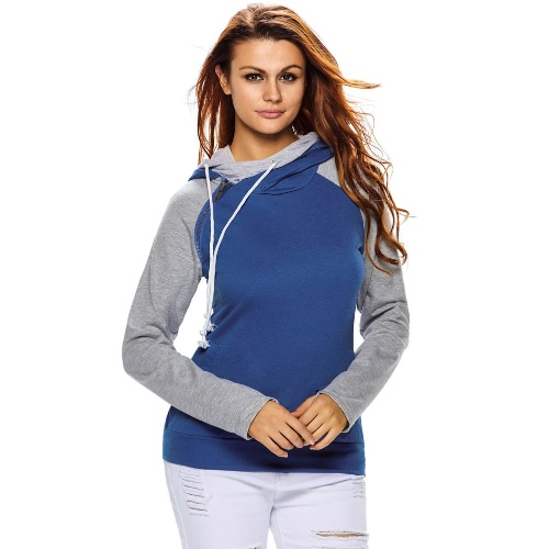 Women Hoodies Sweatshirt Contrast Splicing Pockets Drawstring Double Hooded Thumb Hole Cuffs Pullover Top