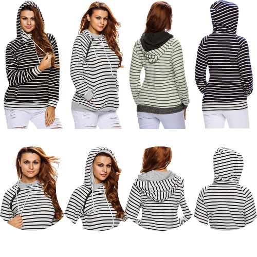 Women Hoodies Sweatshirt Striped Splicing Pockets Drawstring Double Hooded Long Sleeves Pullover Casual Top