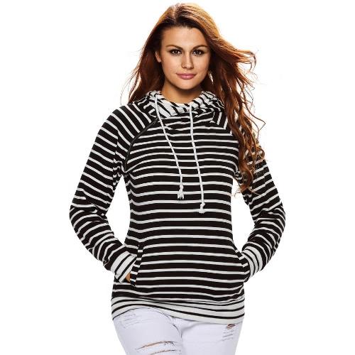 Mulheres Hoodies camisola listrada emenda Pockets cordão duplo com capuz manga comprida Pullover Top Casual