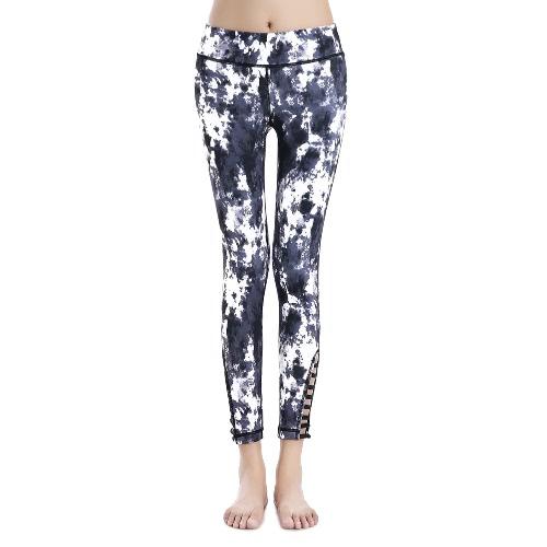 Moda feminina Sports Pants Imprimir Elastic Correr Calças de Fitness Yoga escavar Magro Leggings roxo