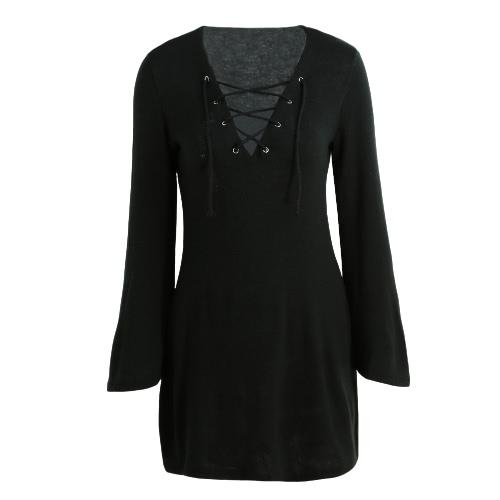 New Sexy Vestido Mulheres Knit Lace Up V-Neck alargamento Sleeve Sólidos Casual Festa Mini vestido de camisola