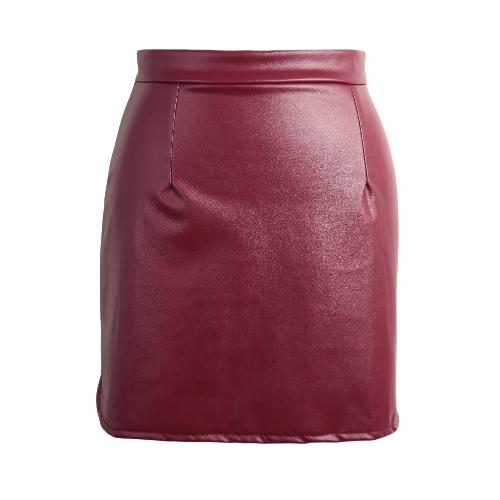 Europa Kobiety Sexy Mini Spódnica PU Leather Zipper stałe Podział Ołówek Spódnice OL schudnięcia klubowa Czarny / Kawa / Burgundy