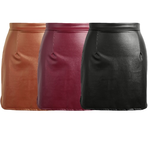 Europe Sexy Mini Women Skirt PU Leather Solid Split Zipper Pencil Skirts OL Casual Slim Clubwear Black/Coffee/Burgundy