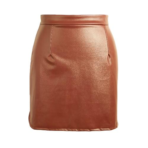 Europa atractiva mini falda de las mujeres del cuero de la PU de la cremallera de Split sólido faldas del lápiz OL delgado ocasional de Clubwear Negro / Café / Borgoña