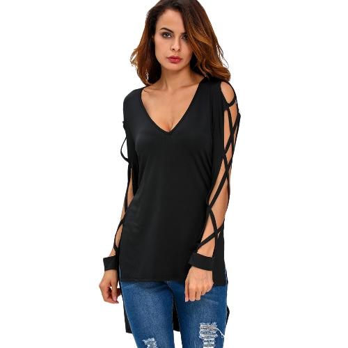 Nueva manera de las mujeres con cuello en V Camiseta de corte de graves entrecruzamiento ahueca hacia fuera con tiras de Split Alto Bajo Hem blusa superior Negro / Azul / Borgoña