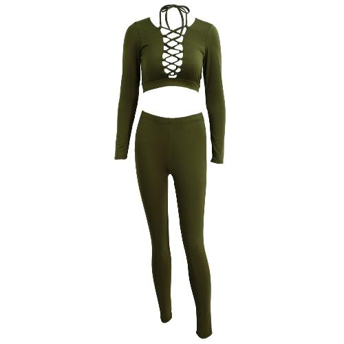Nuevo atractivo de las mujeres de dos piezas Camisa corta Hundiendo cuello en V del vendaje del recorte de cintura alta pantalones largos elásticos de Clubwear