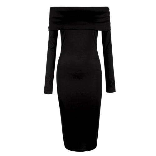 New Sexy Vestido Mulheres Sólidos Off the Shoulder manga comprida Bodycon Midi vestido de partido Clubwear