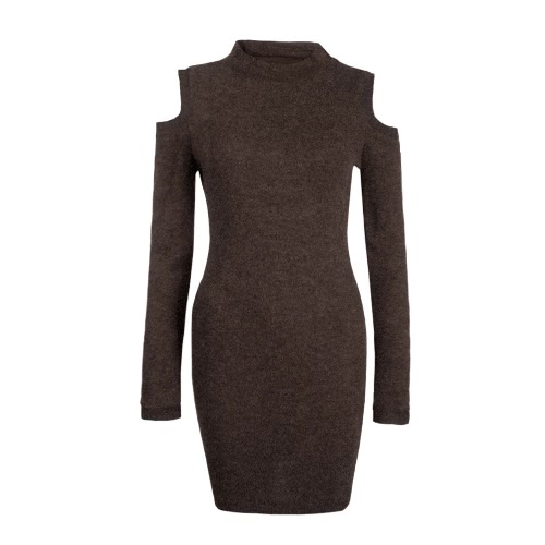 Sexy Kobiety Winter Dress Off ramię z długim rękawem Sweter Jumper Dzianina BODYCON Dress
