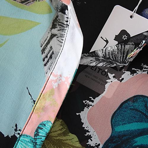 Mode-Frauen-Chiffon- Blusen-Kontrast Druck Button Up Turn-down Kragen mit langen Ärmeln Hemd Grün