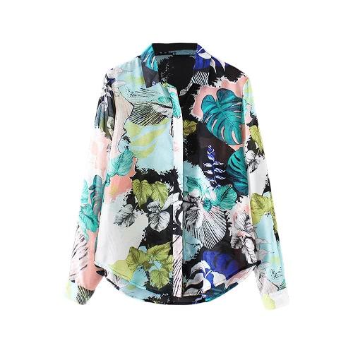 Mulheres Moda Chiffon Blusa contraste da impressão Button Up Turn-Down Collar mangas compridas Camisa Verde