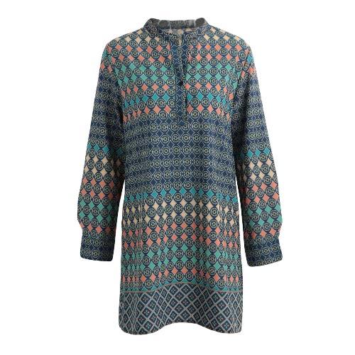 Nowej kobiet Mini sukni vintage Geometria Drukuj Stojak Collar Długie rękawy Elegancka Sukienka Niebieska Luźna Prosto