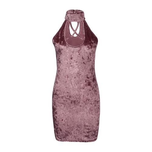 Frauen-Kleid Velvet Choker High Neck Strap Crossover Rückenausschnitt ärmel Schlank Sexy Club One-Piece