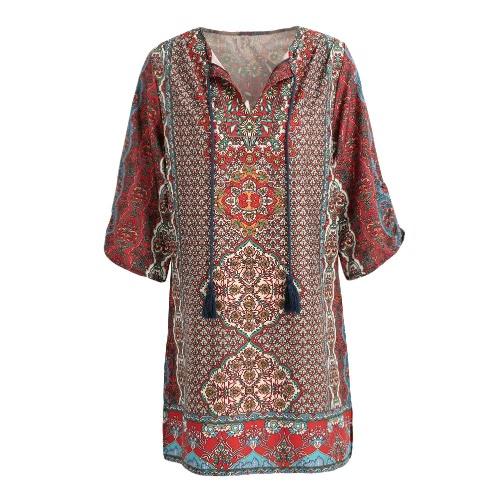 Nouveau Femmes Vintage Robe Boho Floral Print Tie Neck manches demi ethnique Maj lâche Mini-robe rouge