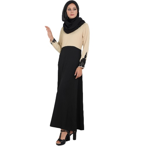 Mujeres de la manera vestido empalmado musulmana de manga larga flor bordada Abaya Islámico de Dubai Caftan Vestido largo Robe
