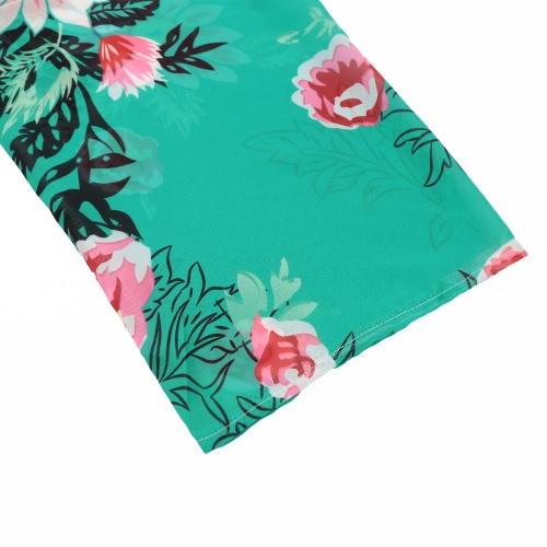 New Women Chiffon Kimono Floral Print Asymmetric Hem Loose Cardigan Blouse Outerwear Beachwear Bikini Cover Up Green