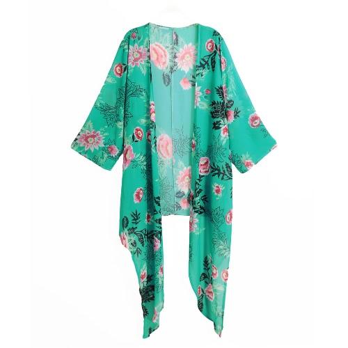 Nueva gasa de las mujeres del kimono de la impresión floral del dobladillo asimétrico flojo de la blusa de vestir exteriores de la rebeca ropa de playa Bikini Cover Up verde