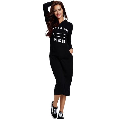 Fashion Women Casual Letter Printed Hoodies Sweatshirt Dress Long Sleeve Slim Pullover Hooded Dress Black