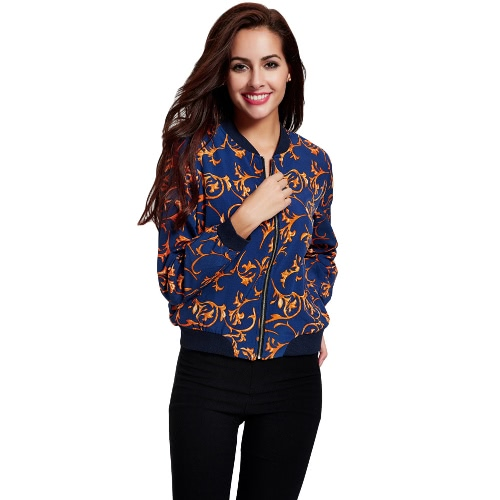 Fashion Women Print Thin Coat Zipper Stand Collar Long Sleeve Elastic Trim Topcoat Jacket Blue