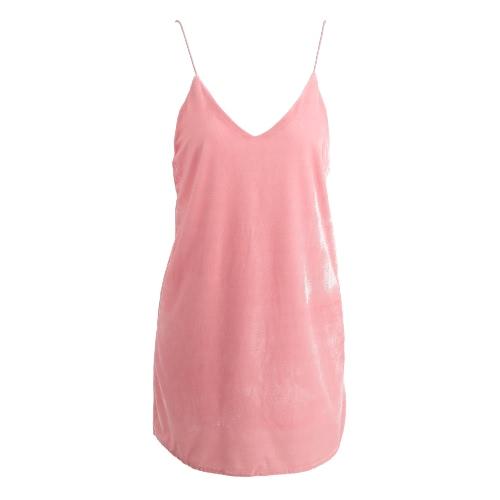 Las nuevas mujeres del terciopelo de los espaguetis vestido de la correa de hundimiento con cuello en V sin espalda con cordones de la correa Curva Hem mini vestido atractivo color de rosa / de Brown