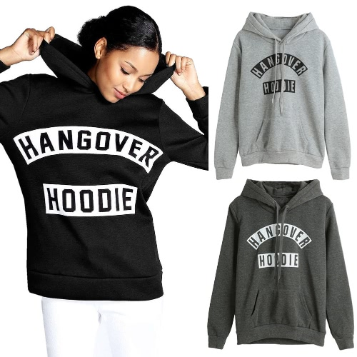 New Fashion Women Hoodie Sweatshirts Hangover Print Drawstring Long Sleeve Warm Pullover Hooded Tops Black/Dark Grey/Light Grey