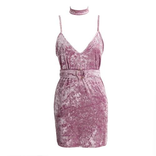Las nuevas mujeres del terciopelo de espagueti del vestido de la correa de cuello en V profundo sin respaldo hebilla de cinturón mini vestido de color rosa