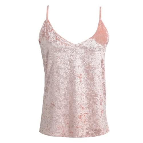 Las mujeres atractivas Cami terciopelo Correa de espagueti Hundiendo con cuello en V sin mangas del chaleco ocasional sólida rosa / café